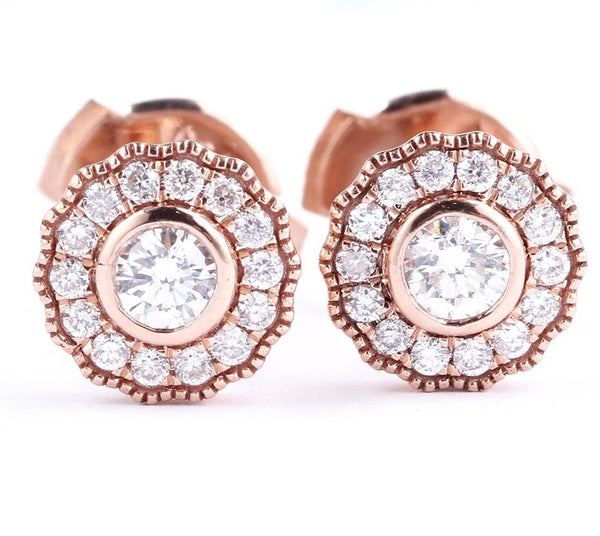 Classic Flower Real Diamond Stud Earrings 18K Rose Gold Engagement Earrings For Women Natural Diamond Fine Jewelry Gifts