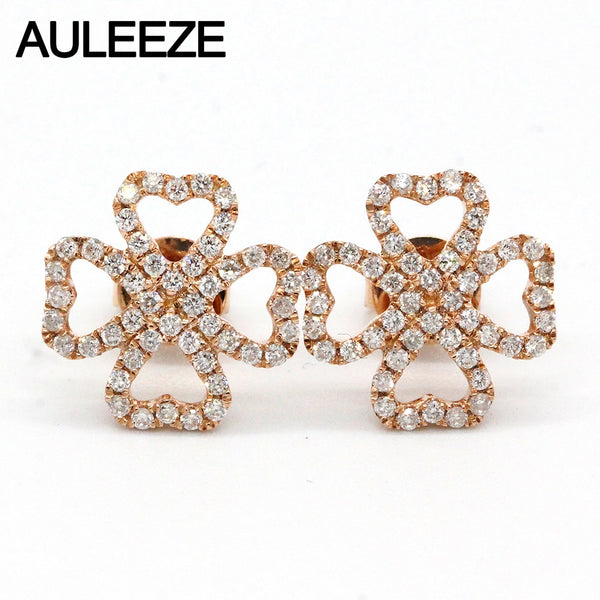 AULEEZE Lucky Clove Natural Diamond Stud Earrings Heart 18K Solid Rose Gold Diamond Earrings For Women Fine Jewelry Gift