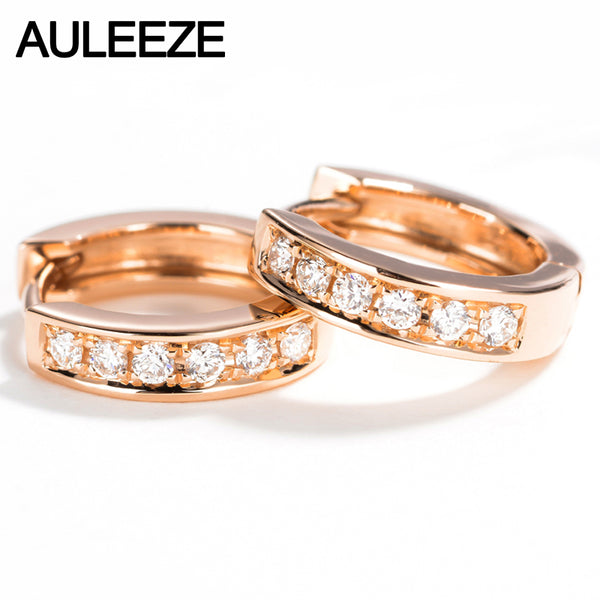 AULEEZE Genuine Natural Real Diamond G/SI Wedding Earrings Classic 18K Solid Rose Gold Hoop Earrings For Women Fine Jewelry