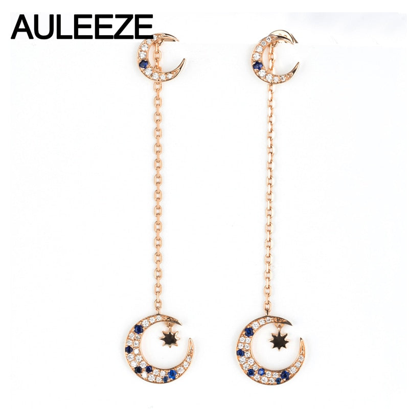 AULEEZE Unique Natural Real Sapphire Diamond Moon Drop Earrings For Women 18K 750 Rose Gold Tassels Earrings Fine Jewelry Gifts