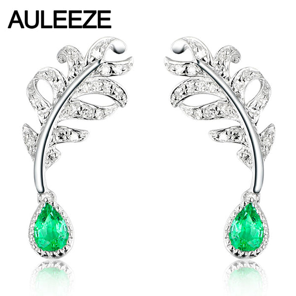 Pear Cut Natural Emerald Diamond Drop Earrings 14K 585 White Gold Feather Real Diamond Wedding Engagement Earrings Fine Jewelry