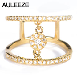 AULEEZE Finger Joint Ring 18K Yellow Gold Natural Diamond Ring Certificate Diamond Cocktail Party Rings For Women Fine Jewelry