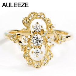 AULEEZE Unique Vintage Natural Diamond Ring Solid 18K Yellow Gold Flower Rings For Women Real Diamond Band Party Fine Jewelry