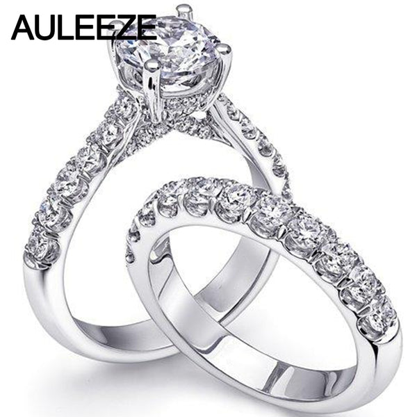 AULEEZE 1CT Moissanites Bridal Wedding Sets 14K Solid White Gold Ring Lab Grown Diamond Engagement Rings For Women Fine Jewelry