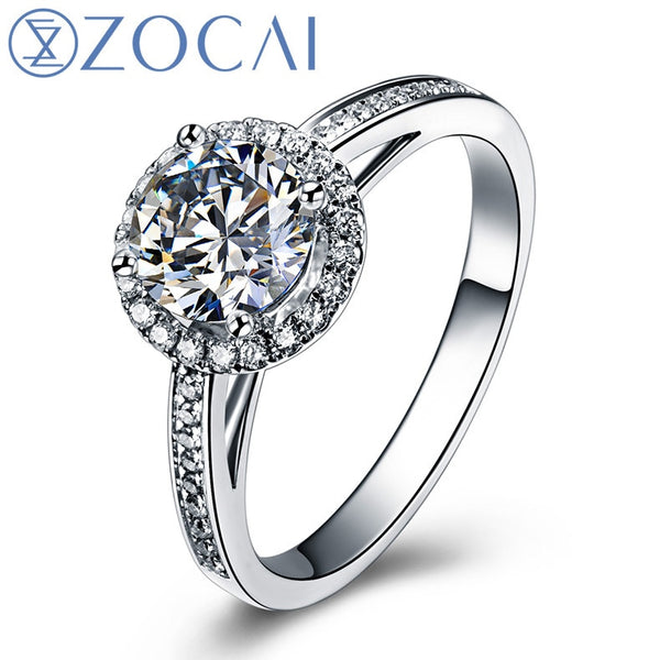 ZOCAI Whirling Dance Real 0.70 CT Certified F-G/SI Diamond Engagement Women Ring 18K White Gold (Au750) W03831