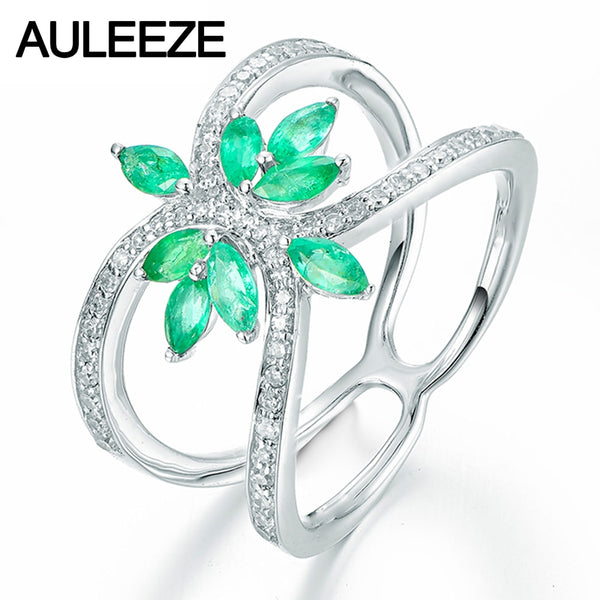 Floral Marquise Cut Natural Emerald Engagement Rings For Women Solid 9K White Gold Simulated Diamond Ring Fine Jewelry Gifts