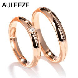 AULEEZE Solid 18K Rose Gold Ring For Couple Noble Temperament Real Diamond Wedding Engagement Ring Wedding Jewelry