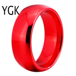 YGK JEWELRY 8MM Width Red Color Domed Tungsten Carbide Wedding Ring