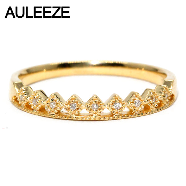 Natural Real Diamond Wedding Band Solid 18K 750 Yellow Gold Matching Bands 0.036cttw Diamond Exquisite Crown Rings For Women
