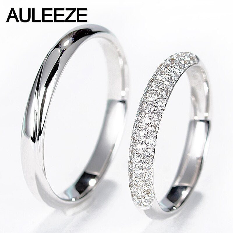 AULEEZE Real Diamond Engagement Wedding Ring Natural Diamond Solid 18K White Gold Rings For Women and Men Couple Wedding Bands