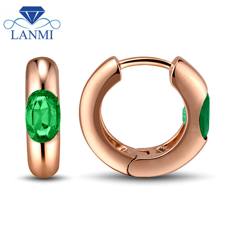Fascinating Solid 18Kt Rose GoldGreen Emerald Earring 4x6mm Oval Cut Gemstone Jewelry for Women Gift WU236