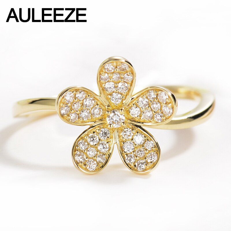 AULEEZE 0.2cttw Natural Diamond Rose Flower Wedding Ring For Women Jewelry 18K Solid Yellow Gold Real Diamond Fine Jewelry