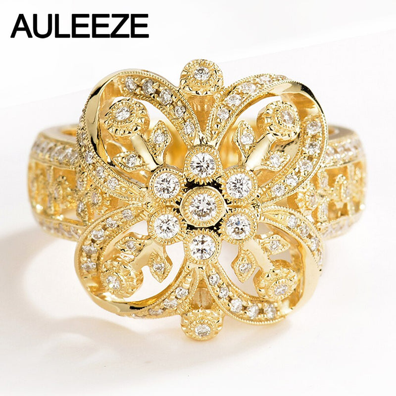 AULEEZE Luxury Vintage Real Diamond Party Ring 18K Solid Yellow Gold Flower Rings For Women Exquisite Diamond Jewelry