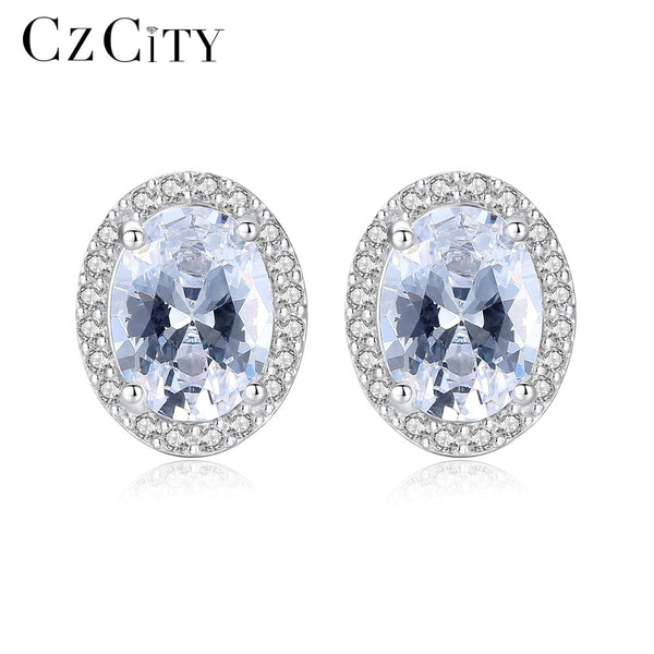 CZCITY Women Genuine 925 Sterling Silver Earrings for Women Big Oval Zircon Stone Luxury Wedding Earring Brand Gift Fine Jewelry