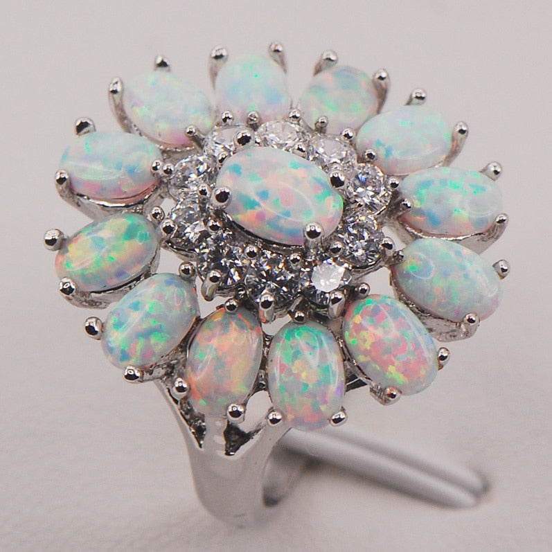 White Fire Opal Australia 925 Sterling Silver Woman Jewelry Ring Size 6 7 8 9 10 11 F577