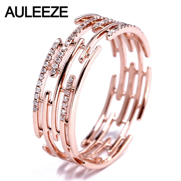 AULEEZE Irregular Line Design Natural Real Diamond Band Solid 18K 750 Rose Gold Party Rings For Women Fine Diamond Jewelry