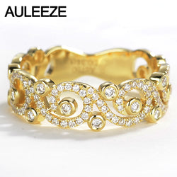 AULEEZE Romantic 18K Yellow Gold Bands Real 0.34cttw Natural Diamond H/SI Flower Vine Wedding Ring For Women Fine Jewelry