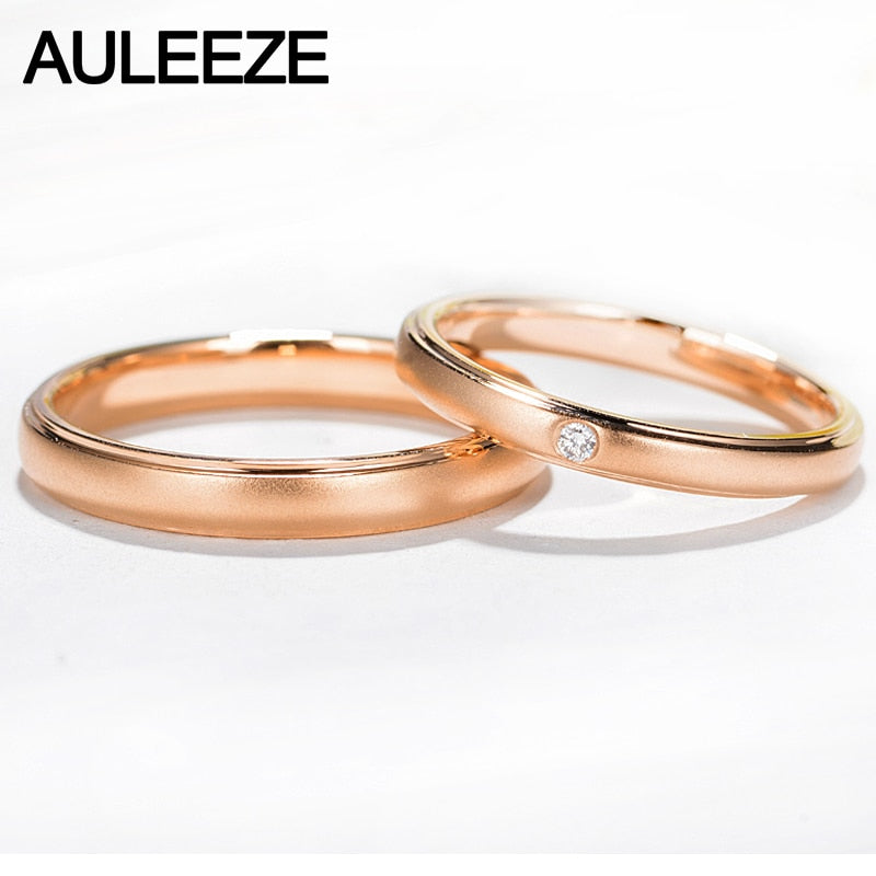 AULEEZE Classic Frosted Effects 18K Yellow Gold Ring For Couple Real Diamond Wedding Engagement Rings For Women and Men Jewelry