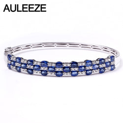 AULEEZE 3.9cttw Natural Sapphire Bangles Real Diamond Solid 18K 750 White Gold Bangle Wedding Anniversary Gemstone Fine Jewelry