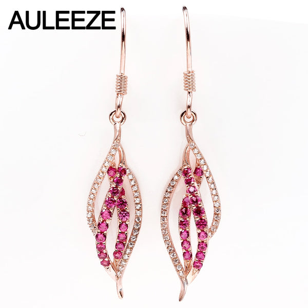 AULEEZE 18KT Rose Gold 0.58cttw Natural Ruby 0.16cttw Real Diamond Earrings For Women Wedding Gemstone Jewelry