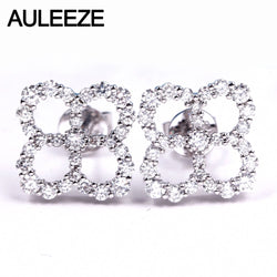 AULEEZE 0.78cttw Natural Real Diamond Stud Earrings 18K White Gold Diamond Lucky Clove Earrings For Women Fine Jewelry Gifts