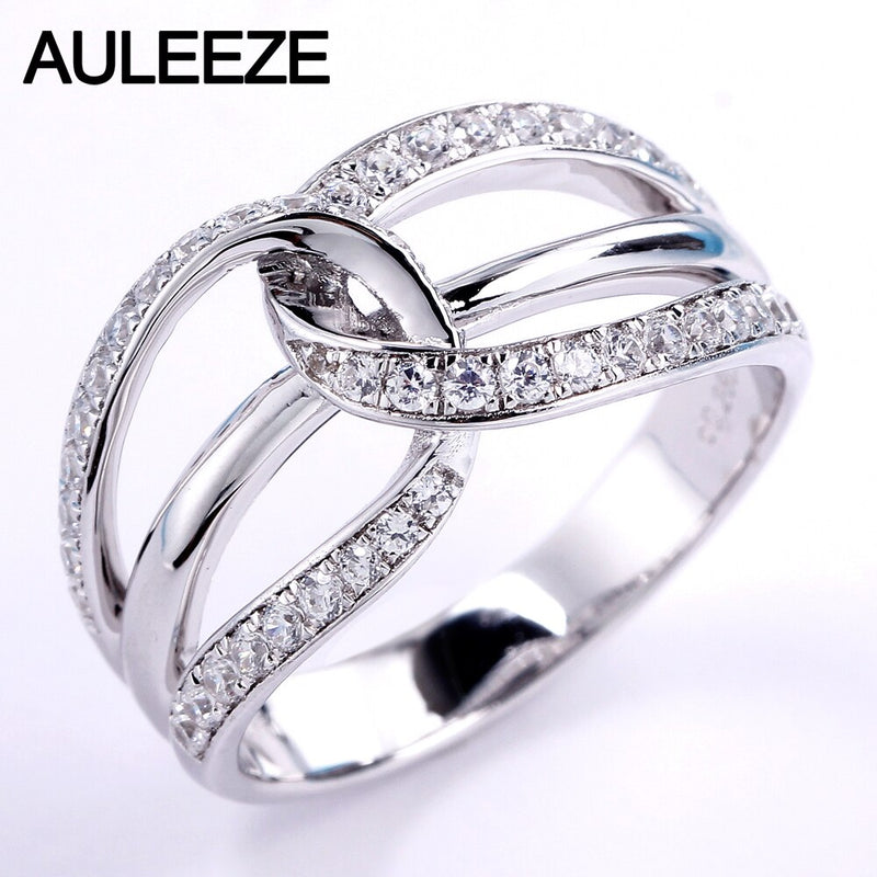 AULEEZE Real Diamond Gold Rings For Women 18K Solid White Gold Natural Diamond Wedding Band Twist Pave Band Fine Jewelry