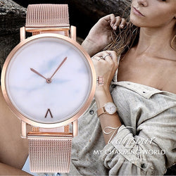 Vansvar Brand Creative Mesh Band Marble Quartz Watch Casual Women Stainless Steel Wristwatches Relogio Feminino Drop Shipping