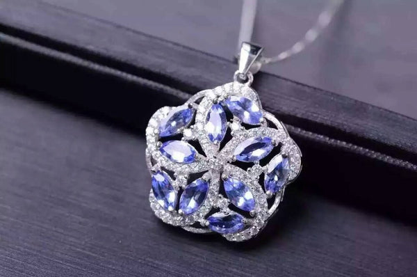 natural blue tanzanite pendant S925 silver Natural gemstone Pendant Necklace trendy Luxury round Fire wheel women gift jewelry