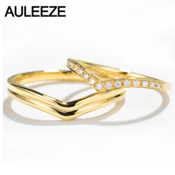 AULEEZE Unique V Shape Real Diamond Rings For Couple Lovers Ring 18K Solid Yellow Gold Natural Diamond Wedding Band
