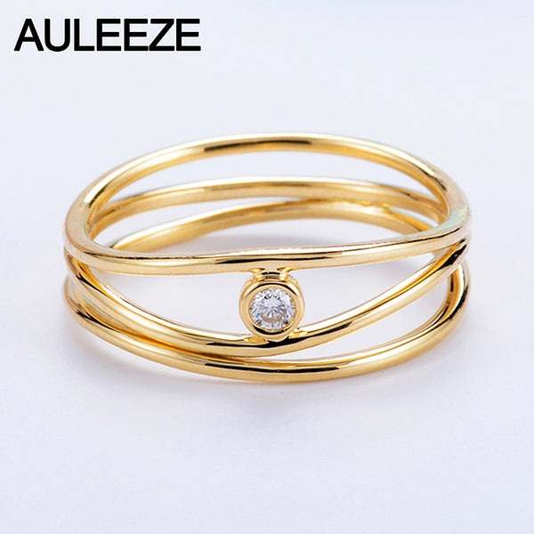 14K 585 Yellow Gold 3 Lines Natural Real Diamond Ring in Rome Irregular Line Style Solitaire Diamond Wedding Bands For Women