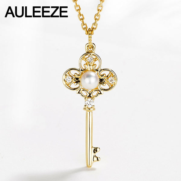 AULEEZE Gold Pearl Key Pendant 18K Solid Yellow Gold Real Natural Pearl Diamond Pendant Necklace Match 18' Silver Necklace