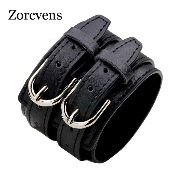 ZORCVENS Fashion Double Belt Leather Wrist Friendship Big Wide Bracelet for Men Buckle Vintage Punk Jewelry