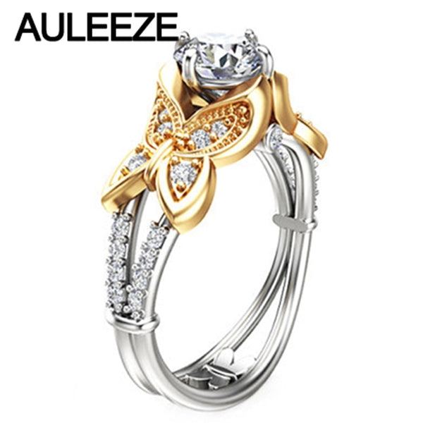 Unique Butterfly Design 1CT Moissanites Engagement Ring Solid 14K Yellow White Gold Lab Grown Diamond Rings For Women Jewelry