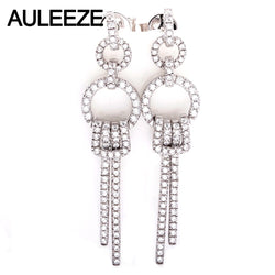AULEEZE Luxury 0.69CTTW Natural Diamond Real 18k 750 White Gold Drop Earrings For Women Wedding Jewelry