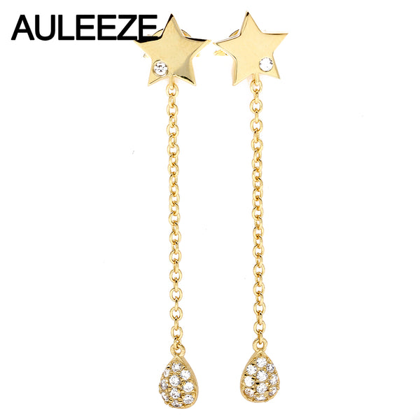 AULEEZE Genuine Natural Diamond Star Drop Earrings Real 18K Yellow Gold Tassel Long Earrings Fine Jewelry Daily OL Girl Gift