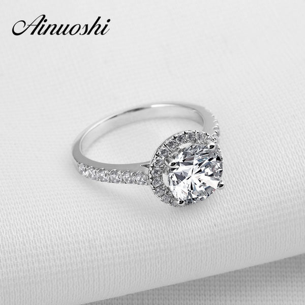AINOUSHI 2 Carat Round Cut Sona Halo Ring for Women 925 Sterling Silver Wedding Rings Bijoux Bagues Anillos Engagement Rings