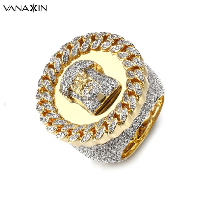 VANAXIN Wide Men Rings Jesus Face CZ Crystal Paved Bling Bling Punk Vintage Ring Men Jewellery Hip Hop Gift Gold/Silver Color
