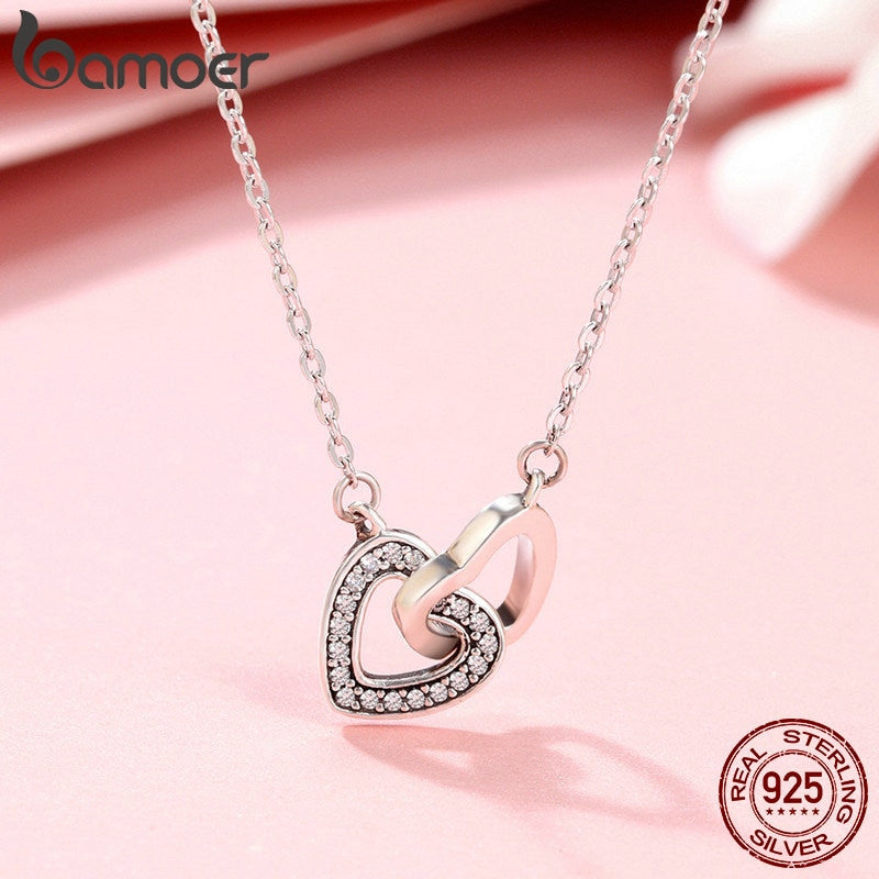 Valentine Day Gift 925 Sterling Silver Connected Heart Couple Heart Pendant Necklace for Girlfriend Silver Jewelry SCN181