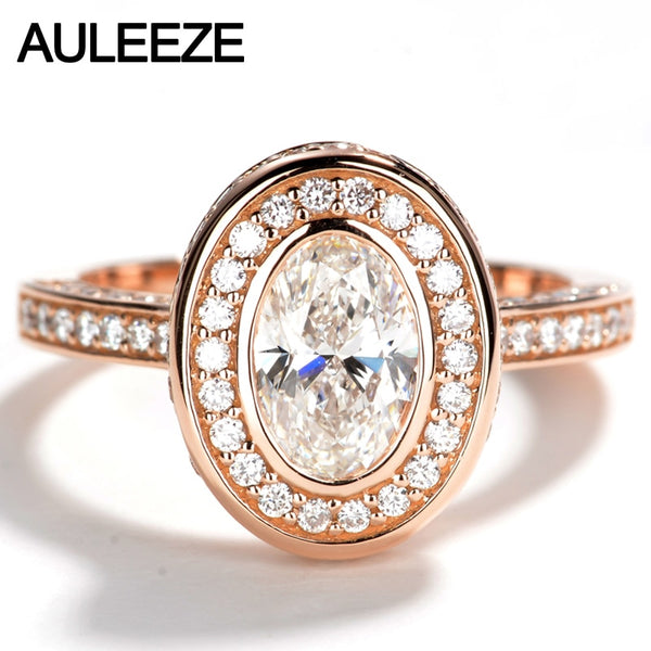 AULEEZE Oval Shape 1 Carat Moissanite Diamond Engagement Wedding Rings For Women Solid 14K 585 Rose Gold Diamond Halo Ring