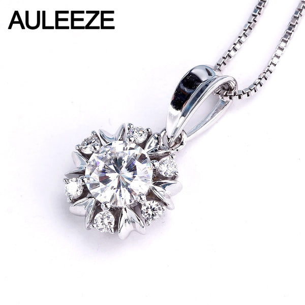 AULEEZE Genuine Halo 1.0CT Round Moissanites Lab Grown Diamond 18K 750 White Gold Snowflake Pendants For Women Fine Jewelry