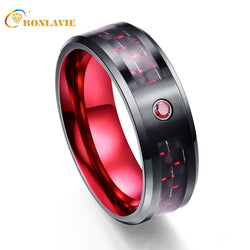 Wholesale Exquisite Red Zircon Men Rings 100% Tungsten Carbide Wedding Bands Anillos para hombres Male Ring