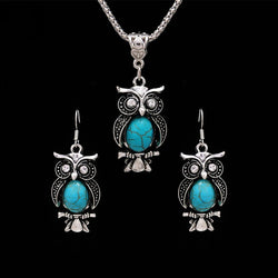 Vintage Owl Jewelry Sets for Women Wedding Party Necklace Earring Boho Natural Stone African Jewelry Sets valentines day gift