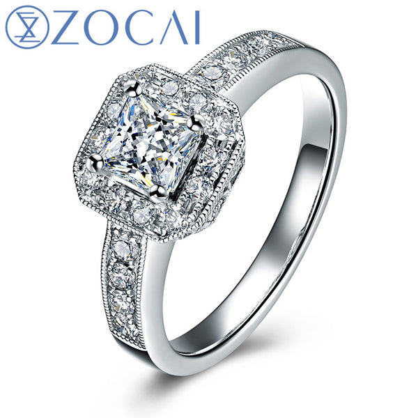 ZOCAI 100% Natural Diamond 0.60 CT F-G/VS Certified Princess Cut Diamond Engagement Women Ring 18K White Gold (Au750) W06145