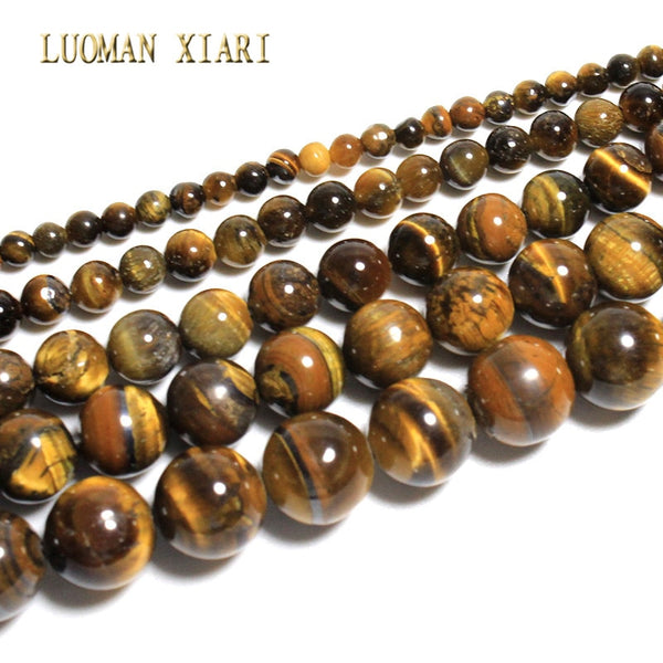 Fine Natural  AAA+ Round  Tiger's eye Stone Beads For Jewelry Making DIY Bracelet Necklace Material 6/8/10/12mm Strand 15''