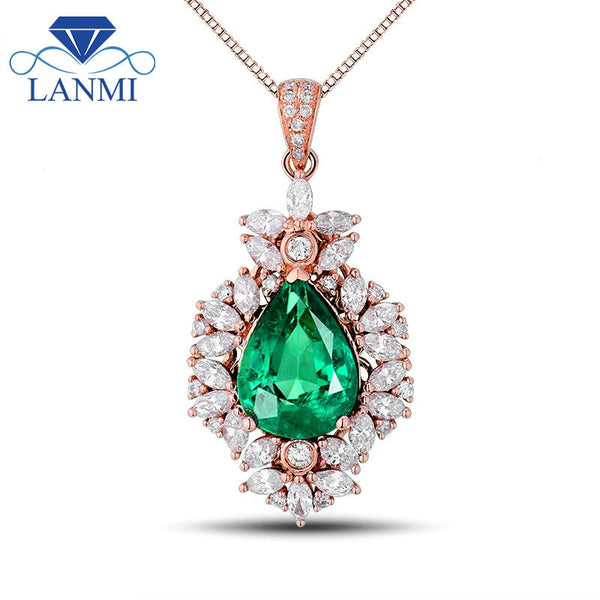 New!!! Fashion Gorgeous Pear 8x11mm Natural Emerald In 18Kt Rose Gold Wedding Pendant WP043