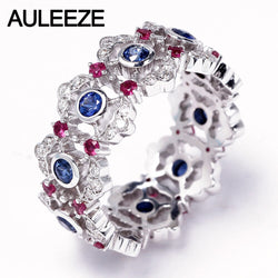 AULEEZE Vintage 0.8cttw Natural Sapphire Weedding Band 18K White Gold Real Diamond Ruby Rings For Women Gemstone Fine Jewelry