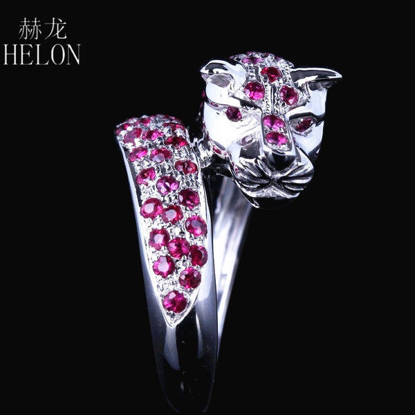HELON Solid 14k White Gold Leopard Band Men Jewlery Genuine .95CT Natural Ruby Engagement New Design Ring Animal Stylish Jewelry