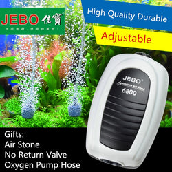 JEBO Ultra Silent Aquarium Air Pump Air Compressor Oxygen Airpump Single & Double Outlet 220-240V Adjustable Air Volume Fish