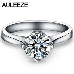 AULEEZE Heart Deaign Solid 9K White Gold Engagement Ring 1CT Simulated Diamond Wedding Rings For Women Valentine's Day Gifts