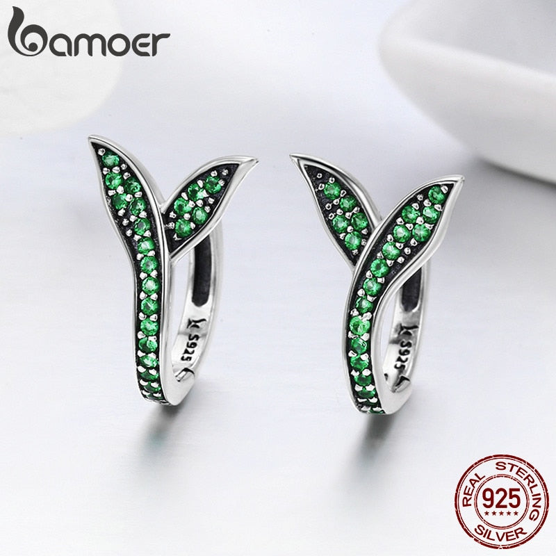 925 Sterling Silver Spring Collection Flower Buds Green CZ Hoop Earrings for Women Sterling Silver Jewelry SCE295